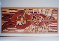 玄関ロビー木製のレリーフ
